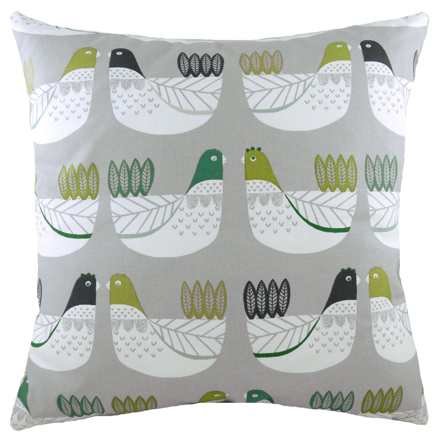 Cluck Cluck Grey/Green Cushion
