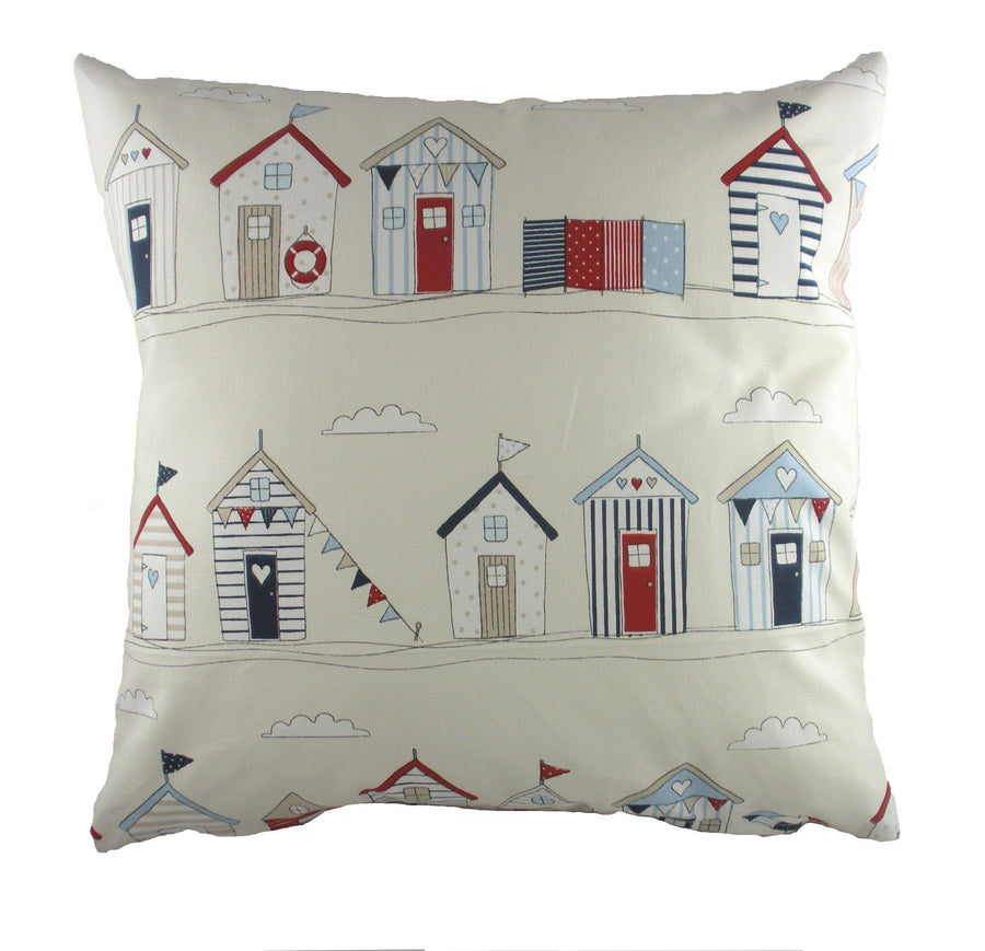 Coast Beach Huts Blue Cushion