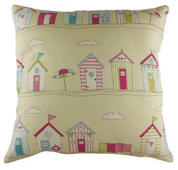 Coast Beach Huts Pink Cushion