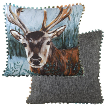 Dartmoor Stag Bobble Trim Cushion