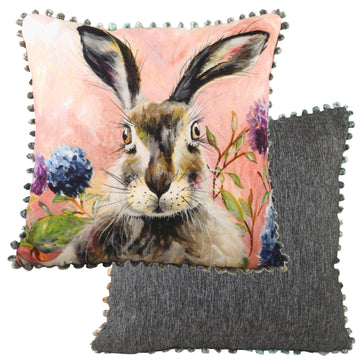 Dartmoor Hare Bobble Trim Cushion