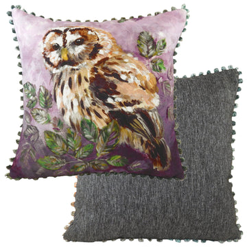 Dartmoor Owl Bobble Trim Cushion