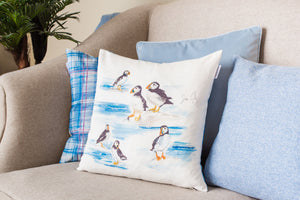 Jennifer Rose Gallery Coastline Puffins Cushion