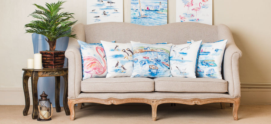 Jennifer Rose Gallery Coastline Flamingos Cushion