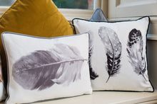 Feathers Black Piped Cushion