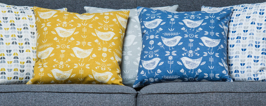 Nordic Birds Ochre Cushion