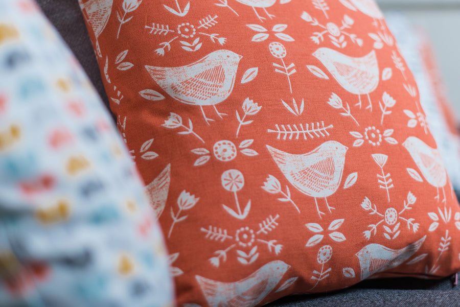 Nordic Birds Burnt Orange Cushion