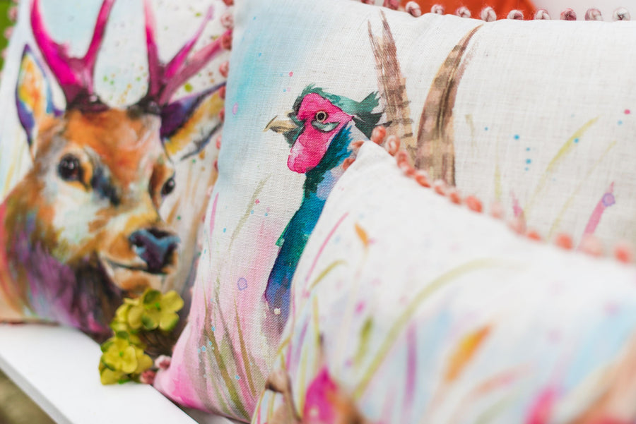 Artistic Animals Pheasant Bobble Trim Cushion