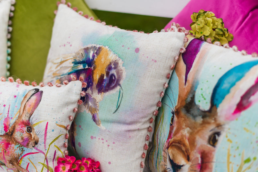 Artistic Animals Bee Bobble Trim Cushion