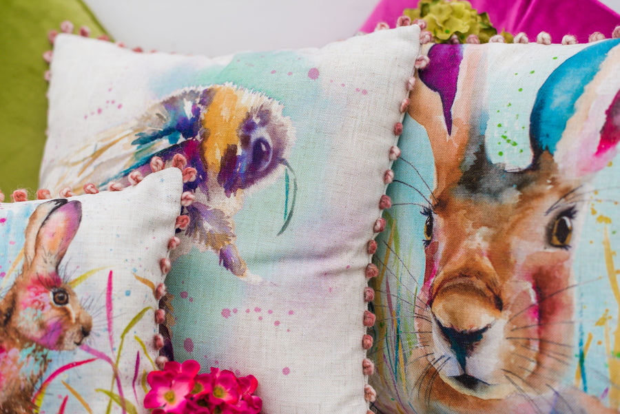 Artistic Animals Portrait Hare Bobble Trim Cushion