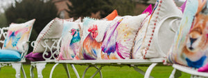 Artistic Animals Cockerel Bobble Trim Cushion