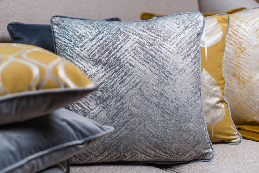 Fawsley Bowood Ochre Piped Cushion