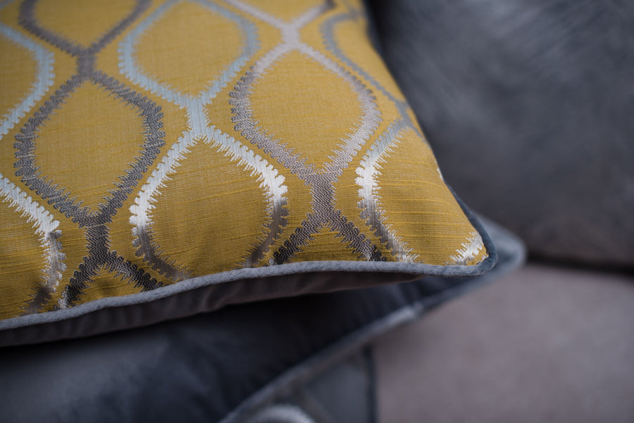 Fawsley Knoll Ochre Piped Cushion