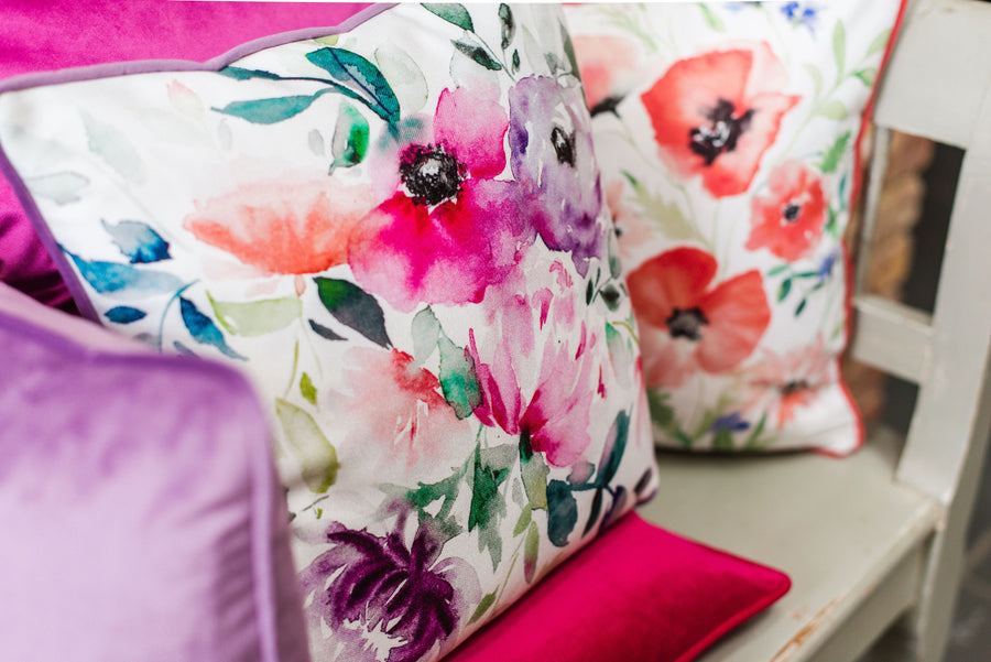 Grace Lilac Painted Floral Piped Cushion