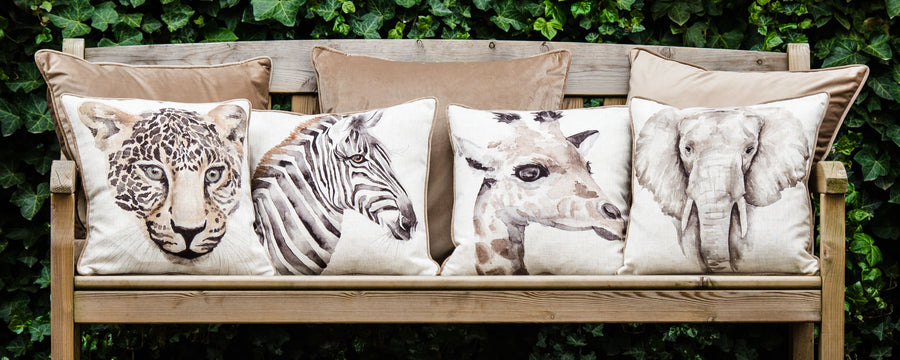 Safari Elephant Piped Cushion