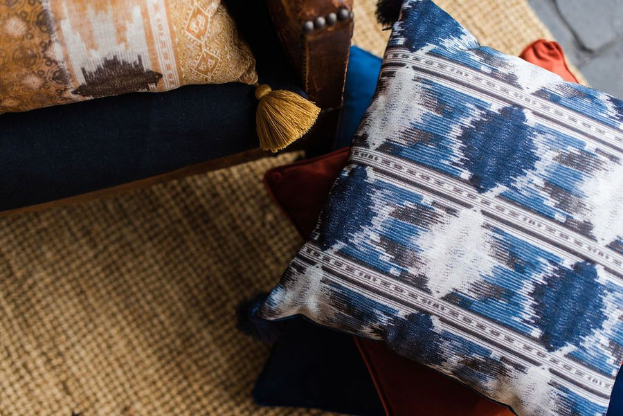 Tribal Blue Tasselled Cushion