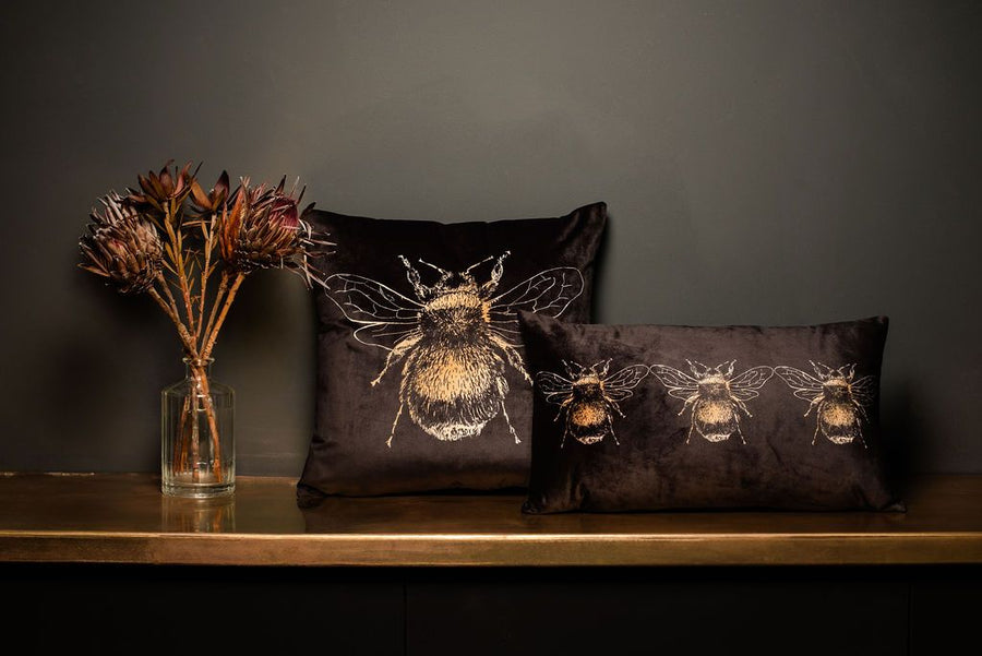 Gold Bee Dark Grey Cushion