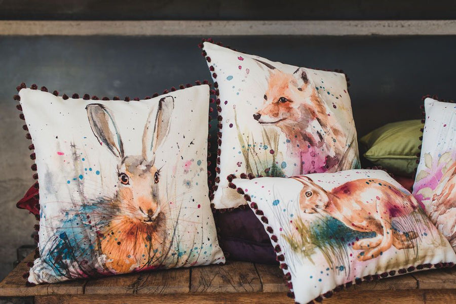 British Wildlife Running Hare Pom Pom Cushion