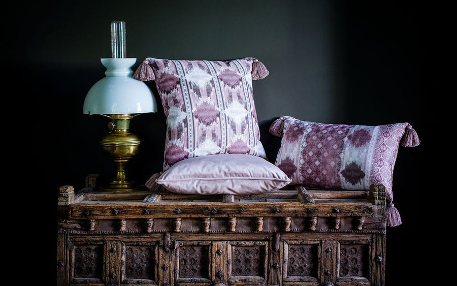 Tribal Dusky Pink Oblong Tasselled Cushion