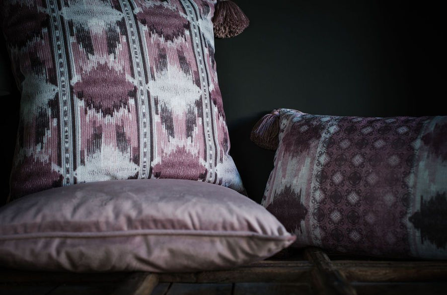 Tribal Dusky Pink Tasselled Cushion