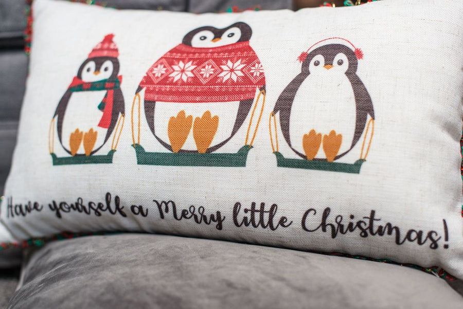 Merry Penguins Tassel Trim Cushion