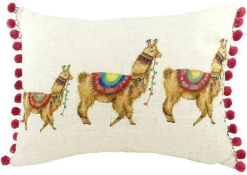 Fantasy Llamas Oblong Pom-Pom Trim Cushion