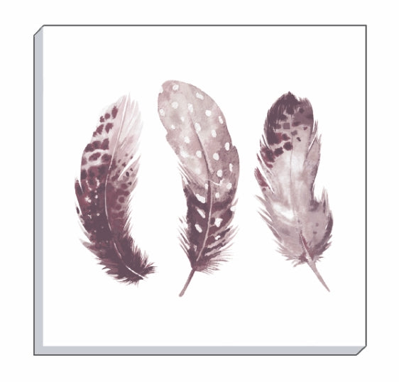 Feathers Dusky Pink Canvas Wall Art