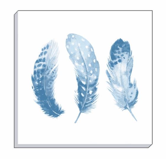 Feathers Cornflower Blue Canvas Wall Art