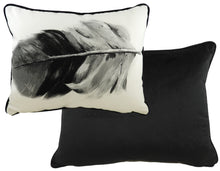 Feathers Black Oblong Piped Cushion