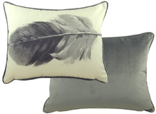 Feathers Light Grey Oblong Piped Cushion