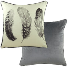Feathers Dark Grey Piped Cushion