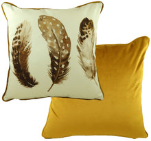 Feathers Gold Piped Cushion