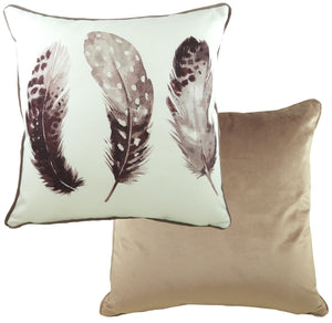 Feathers Dusky Pink Piped Cushion