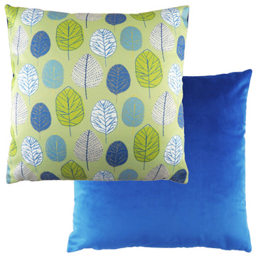 Flourish Leaf Blue Cushion