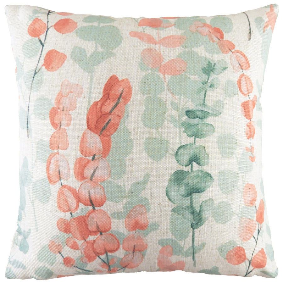 Flourish Eucalyptus Coral Cushion