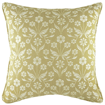 Glendale Floral Ochre Piped Cushion