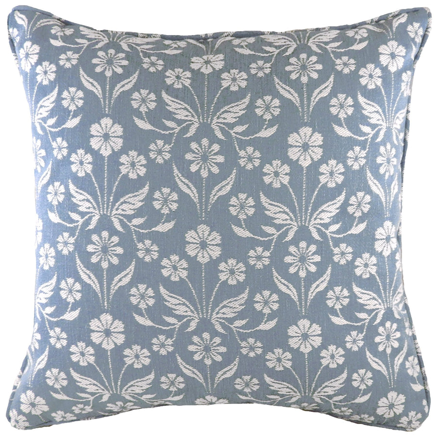 Glendale Floral Blue Piped Cushion