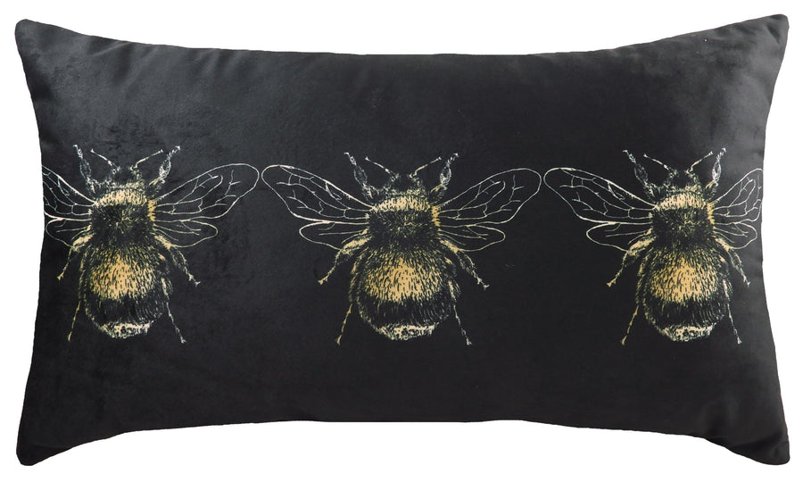 Gold Bee Black Oblong Cushion