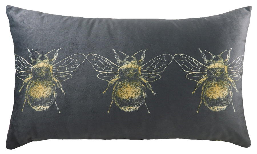 Gold Bee Dark Grey Oblong Cushion