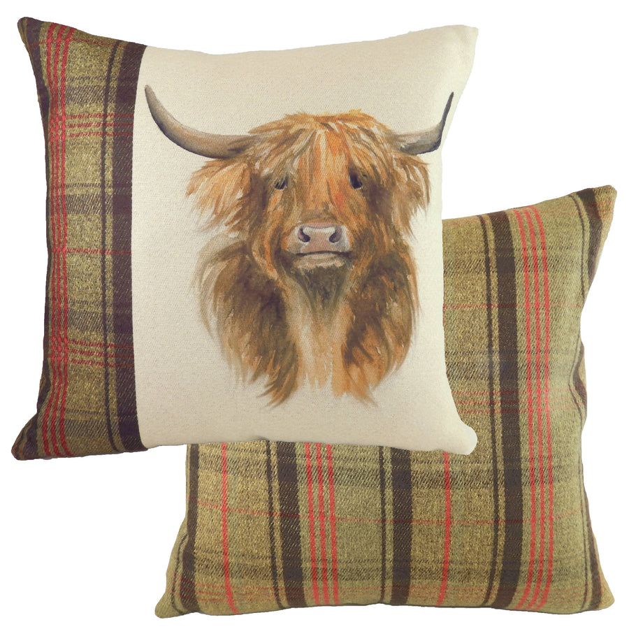 Hand Painted Highland Cow Hunter Green Cushion