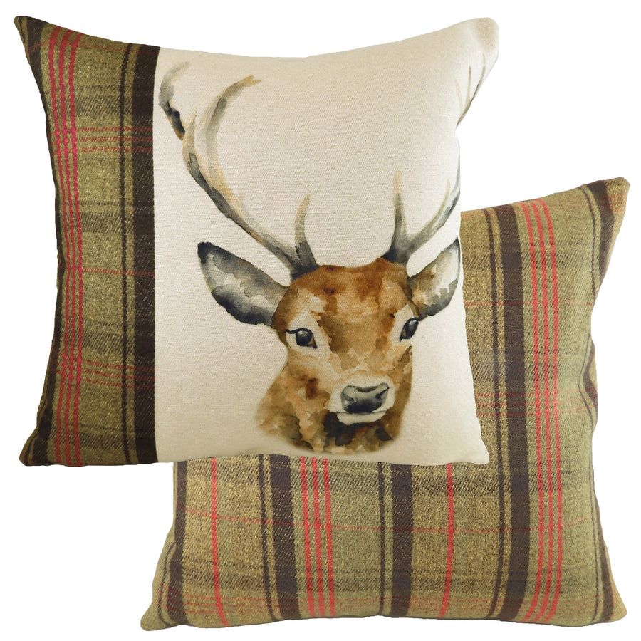 Hand Painted Stag Hunter Green Cushion