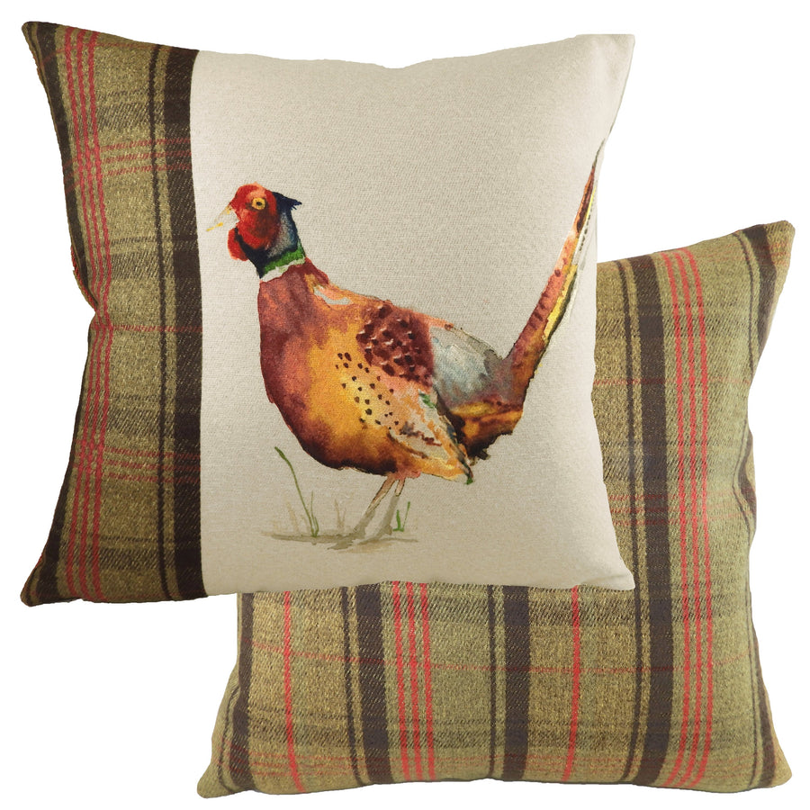 Hand Painted Pheasant Hunter Green Cushion