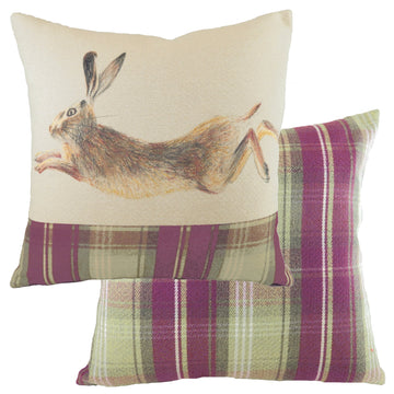 Hand Painted Hare Heather Cushion