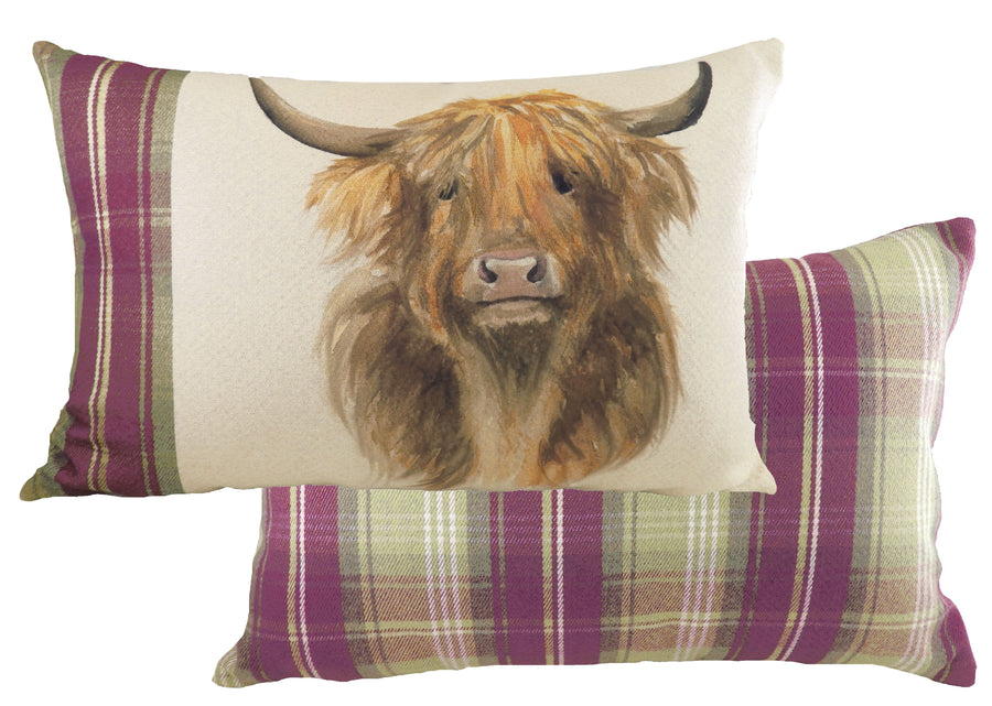 Hand Painted Highland Cow Heather Cushion