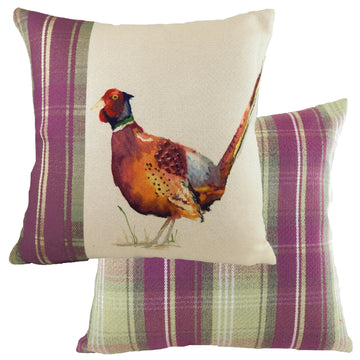 Hand Painted Pheasant Heather Cushion