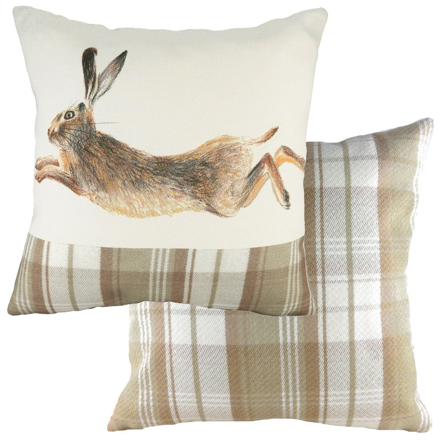 Hand Painted Hare Natural Cushion