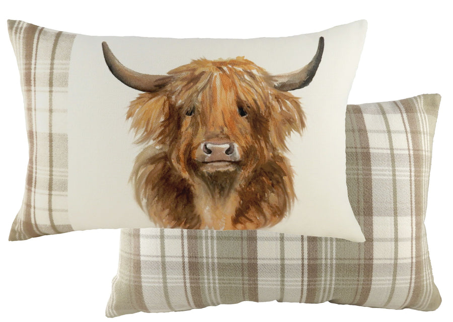Hand Painted Highland Cow Natural Cushion
