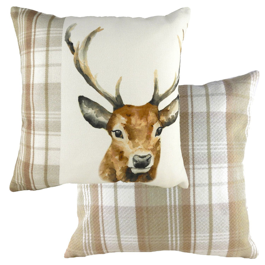 Hand Painted Stag Natural Cushion