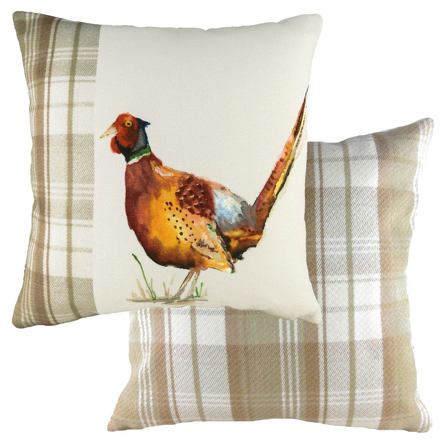 Hand Painted Pheasant Natural Cushion