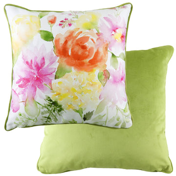 Emily Green Painted Floral Piped Cushion